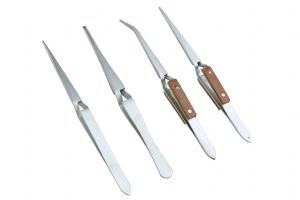 4 x Self Locking Soldering Tweezers, Pointed, Straight, Angled, 2 are Insulated (S7544)